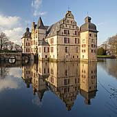 """Stock Images of """"Schloss Strunkede Castle, moated castle, Herne."""