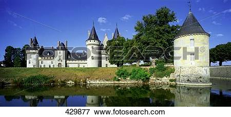 Picture of Castle at waterfront, Moated Castle, Loire Valley.