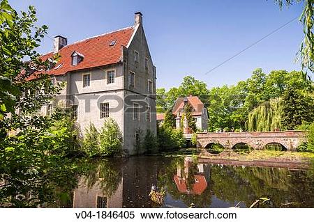 Stock Image of The moated castle of Senden, North Rhine.