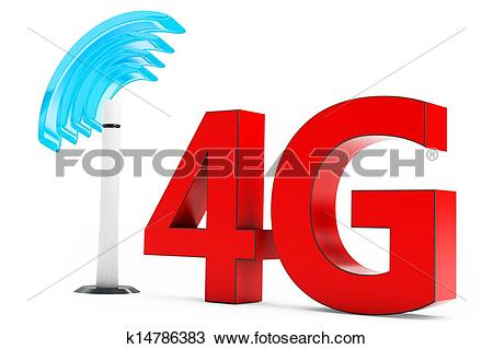Drawing of 3d 4G mobile antenna, wireless technology k14786383.