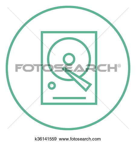 Clip Art of Hard disk line icon. k36141559.