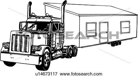 Clip Art of illustration, lineart, truck, mobile, home u14673117.