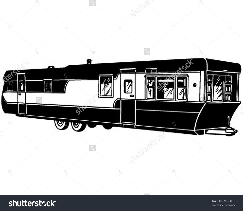 Mobile Home 2 Retro Clipart Illustration Stock Vector 69042037.