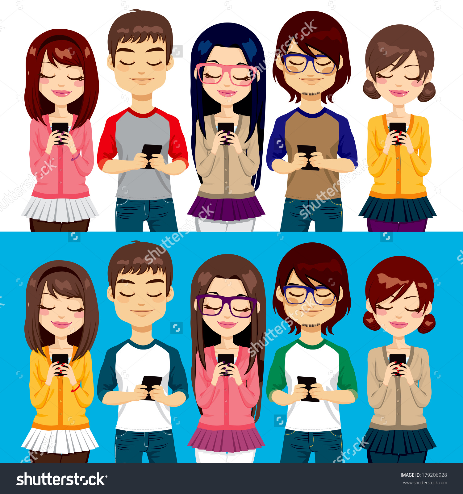 Five Different Young People Using Mobile Stock Vector 179206928.