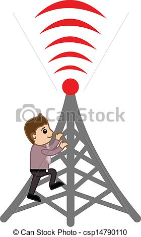 Clip Art Vector of Man Presenting Network Tower.