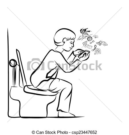 Clipart Vector of Man using mobile phone for social network in.