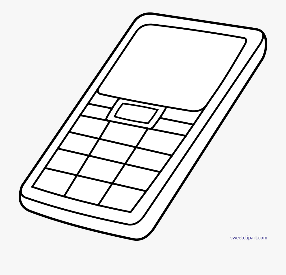 Cell Phone Black And White Clipart.