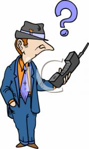 Clipart of a Businessman Trying to Use a Mobile Phone.