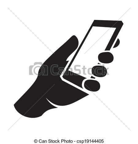 Vector Clipart of Mobile phone in hand icon. Vector illustration.