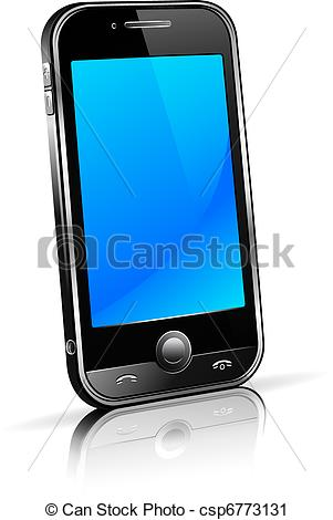 Vector Clip Art of Cell Smart Mobile Phone 3D.
