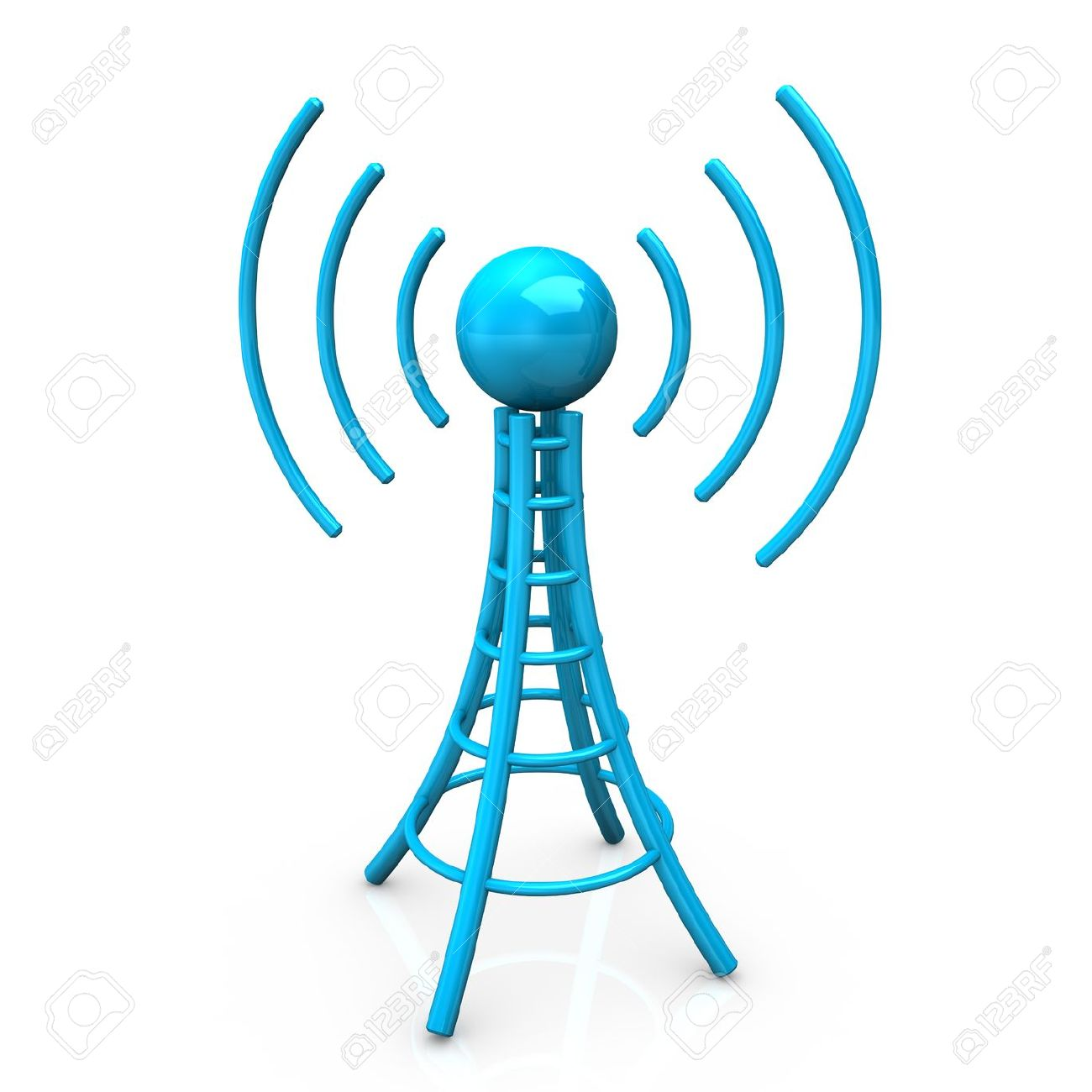 Blue Antenna Tower With Radio Waves, On White Background. Stock.