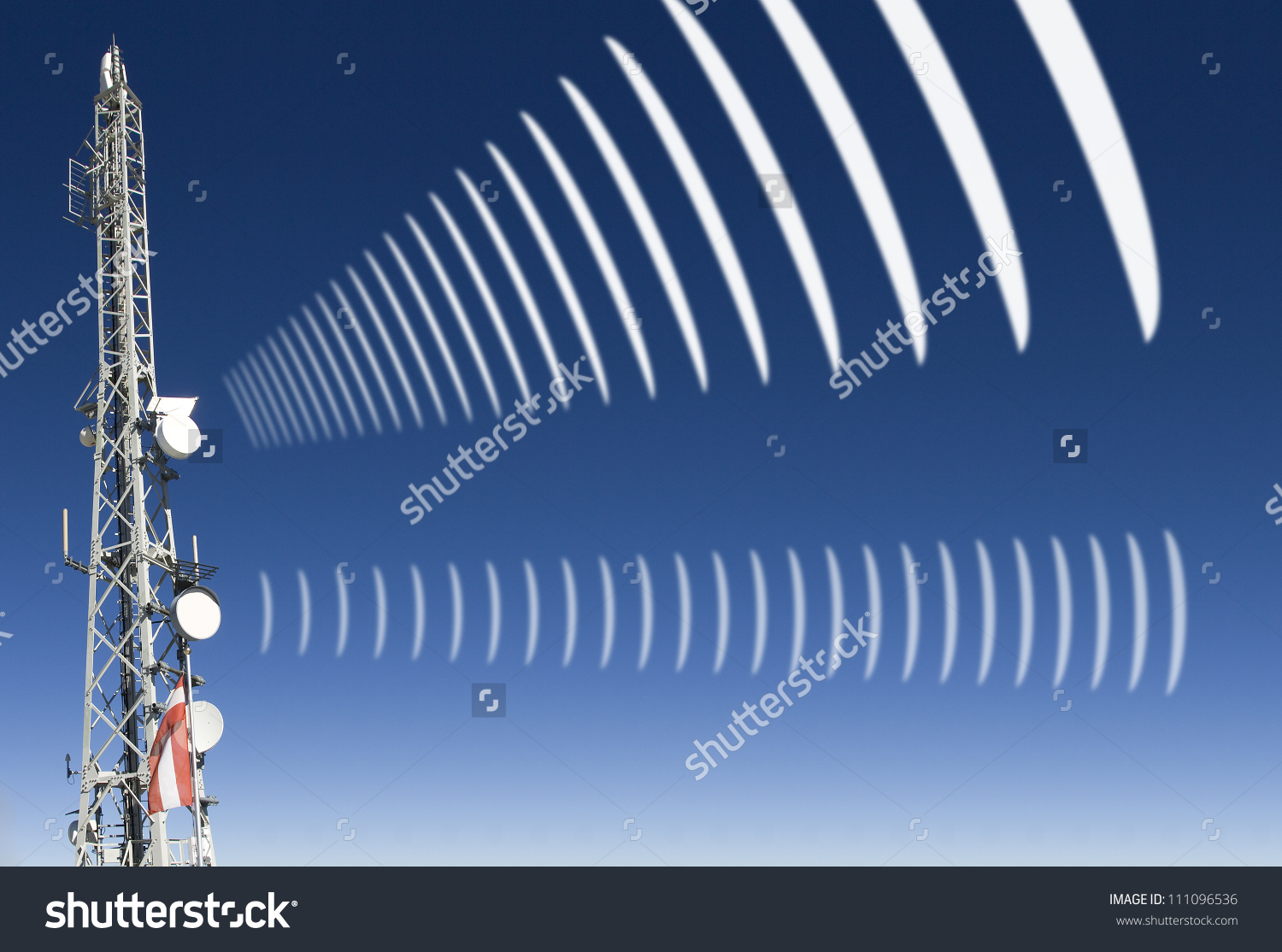 Mobile Radio Antenna With Symbolic Radiation Stock Photo 111096536.