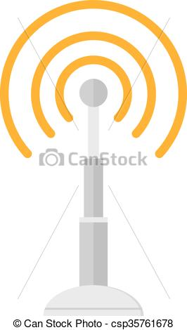 Vectors Illustration of Telecommunications radio antenna tower or.