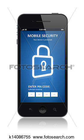 Stock Illustration of Mobile security concept k14086755.