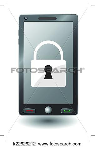 Clipart of smartphone with padlock on display. Mobile security.