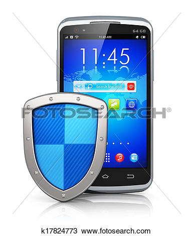 Drawing of Mobile security and data protection concept k17824773.