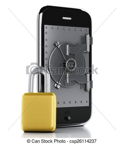 Drawings of 3d Smartphone with safe door. Mobile security concept.
