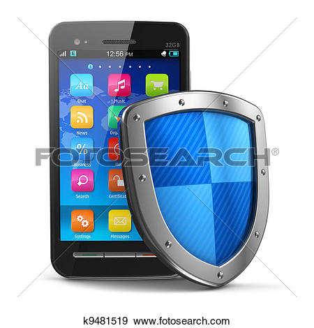 Stock Illustration of Mobile security and antivirus protection.