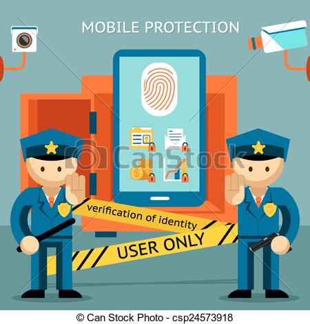 Vector Clip Art of Mobile phone protection. Financial security and.