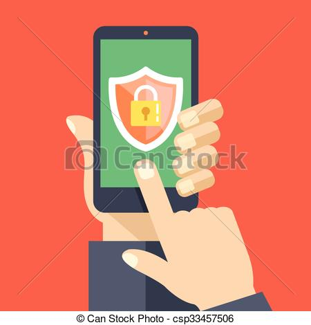 Vector Clipart of Mobile security app on smartphone screen. User.