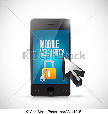 Drawing of mobile security phone and lock illustration design.