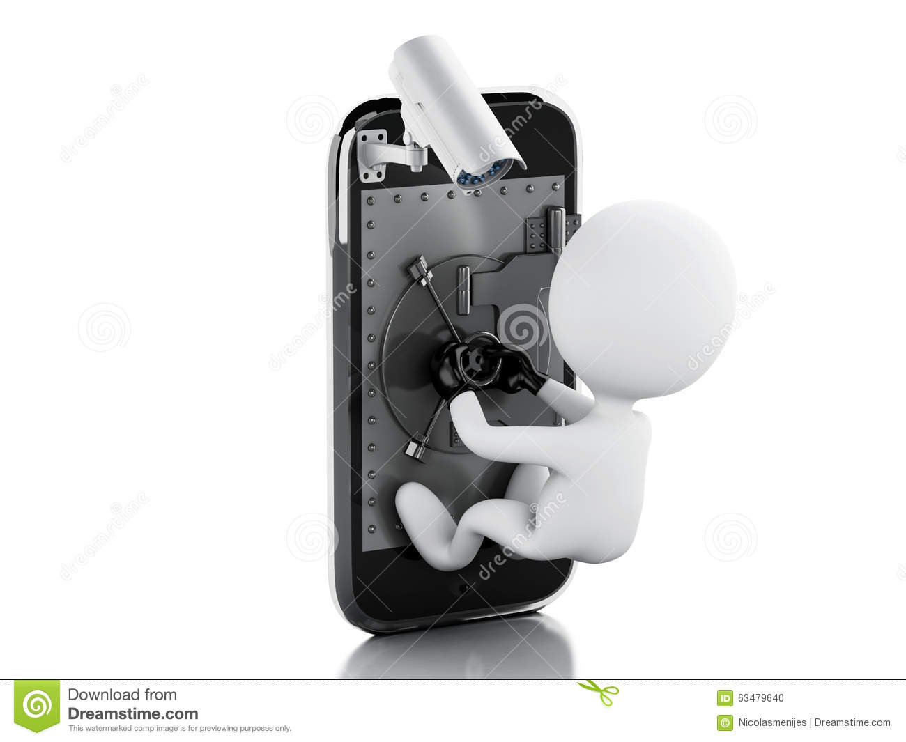 3D White People. Mobile Security Concept Stock Illustration.