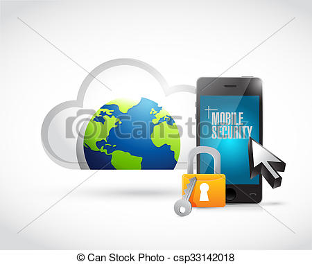Clipart of cloud computing mobile security phone illustration.