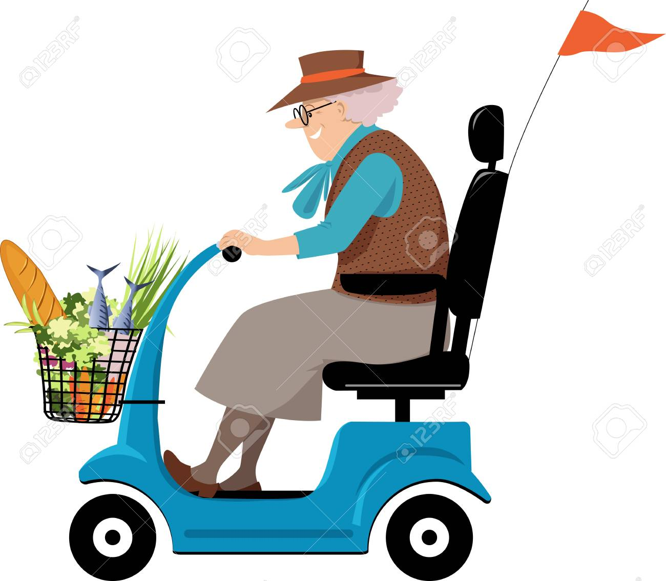 Elderly woman doing grocery shopping on a mobility scooter, EPS...