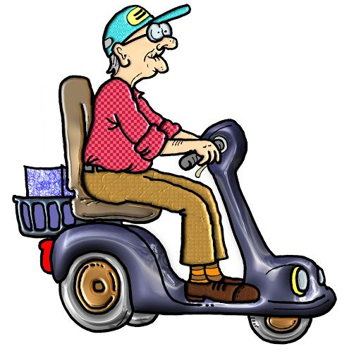 seniors on scooters clipart.