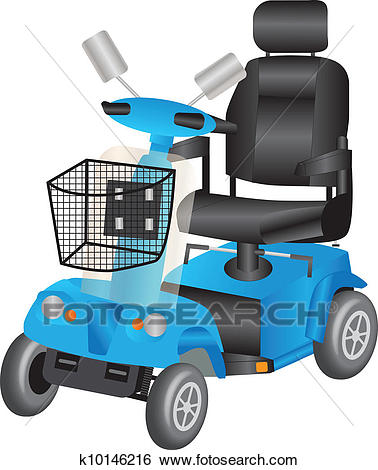 Blue Mobility Scooter Clip Art.