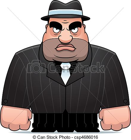 Clip Art Vector of Cartoon Mobster.