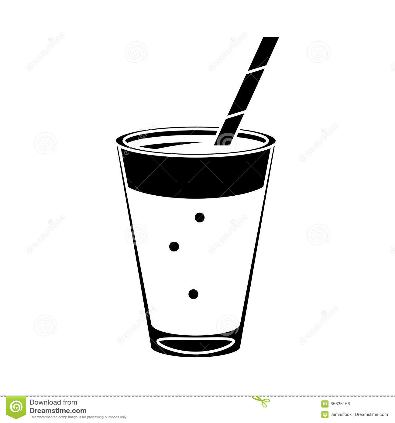 Mocca Coffee Cup Cream Straw Drink Pictogram Stock Vector.