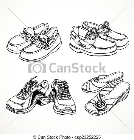 Vector Illustration of Sketch of shoes for men and women moccasins.