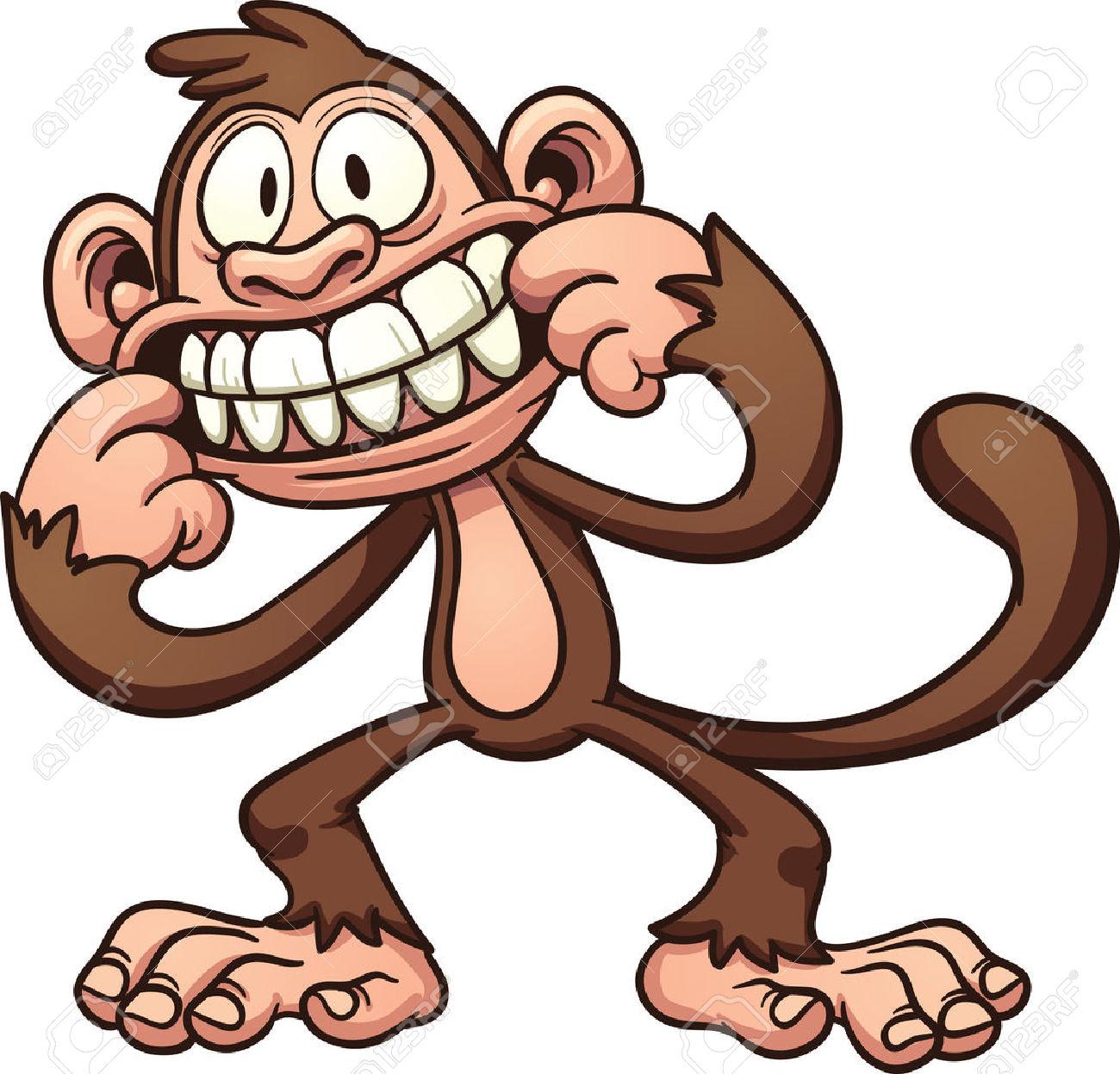 Mocking Cartoon Monkey Vector Clip Art Illustration With Simple.