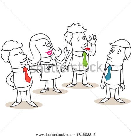 Illustration Monochrome Cartoon Character Group Business Stock.
