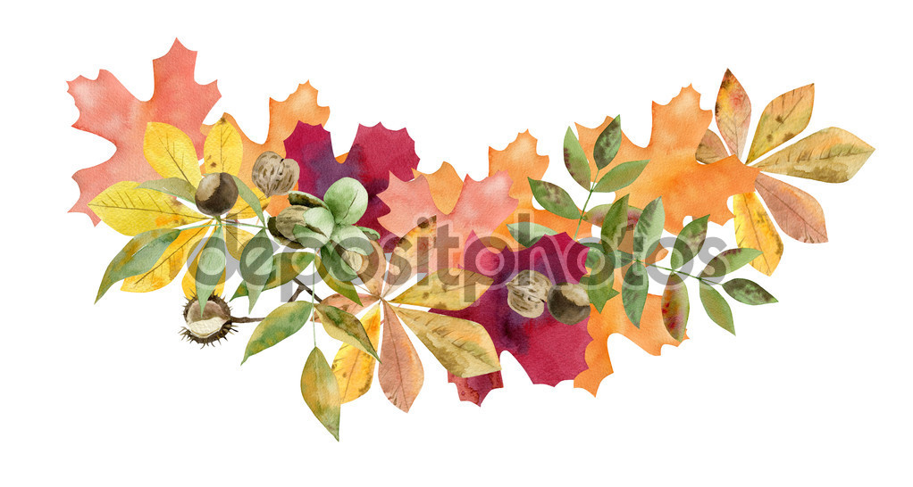 Hand painted watercolor mockup clipart template of autumn leaves.