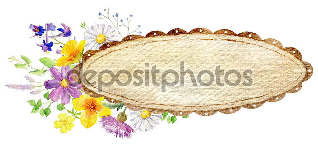 Hand painted watercolor mockup clipart template of wild flowers.