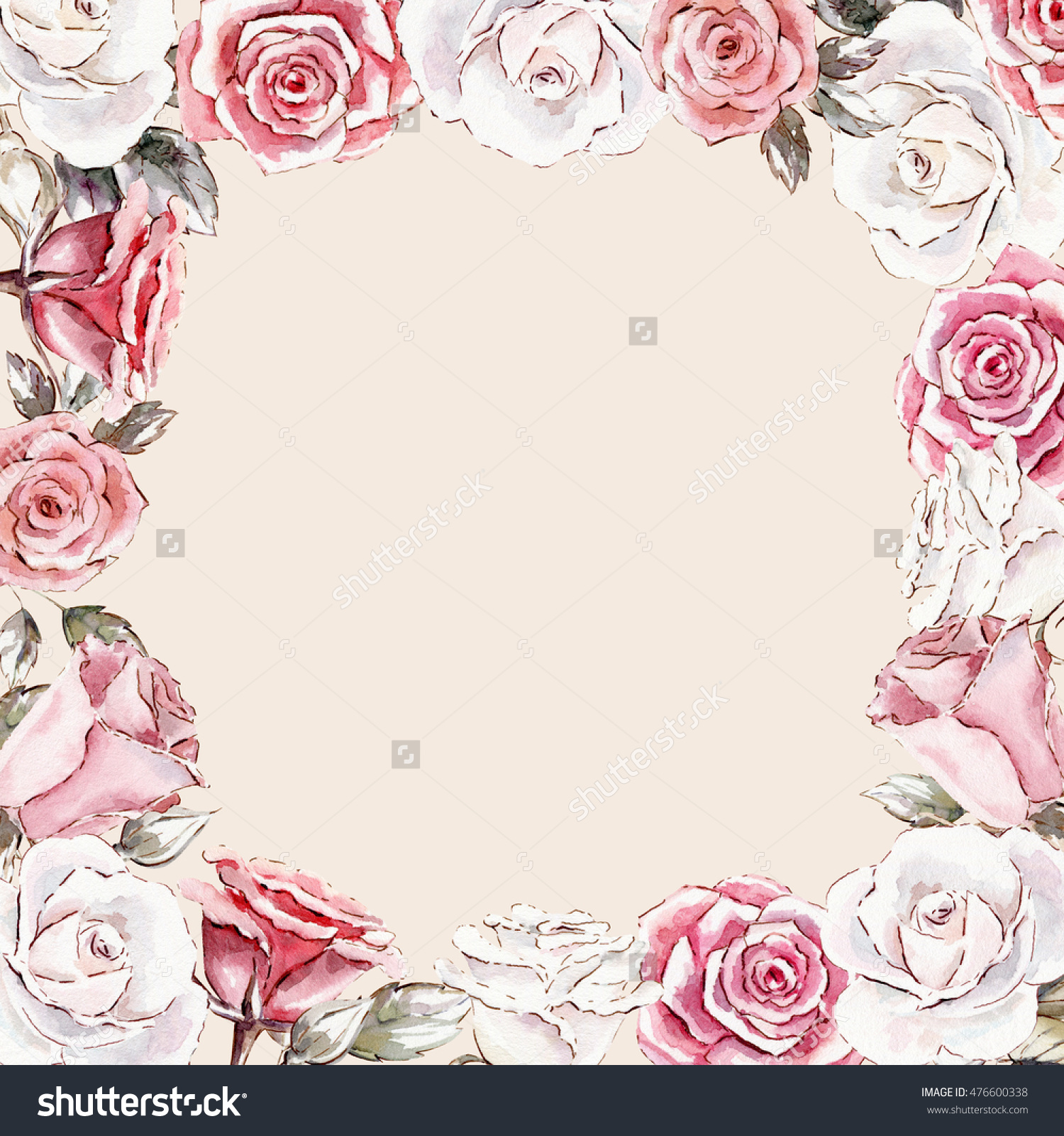 Beautiful Hand Painted Watercolor Mockup Clipart Template Of Roses.