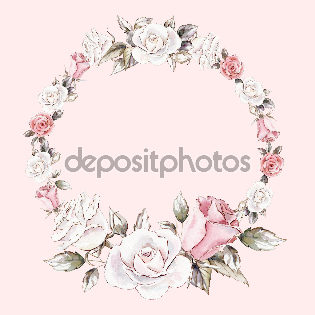 Hand painted watercolor wreath mockup clipart template of roses.