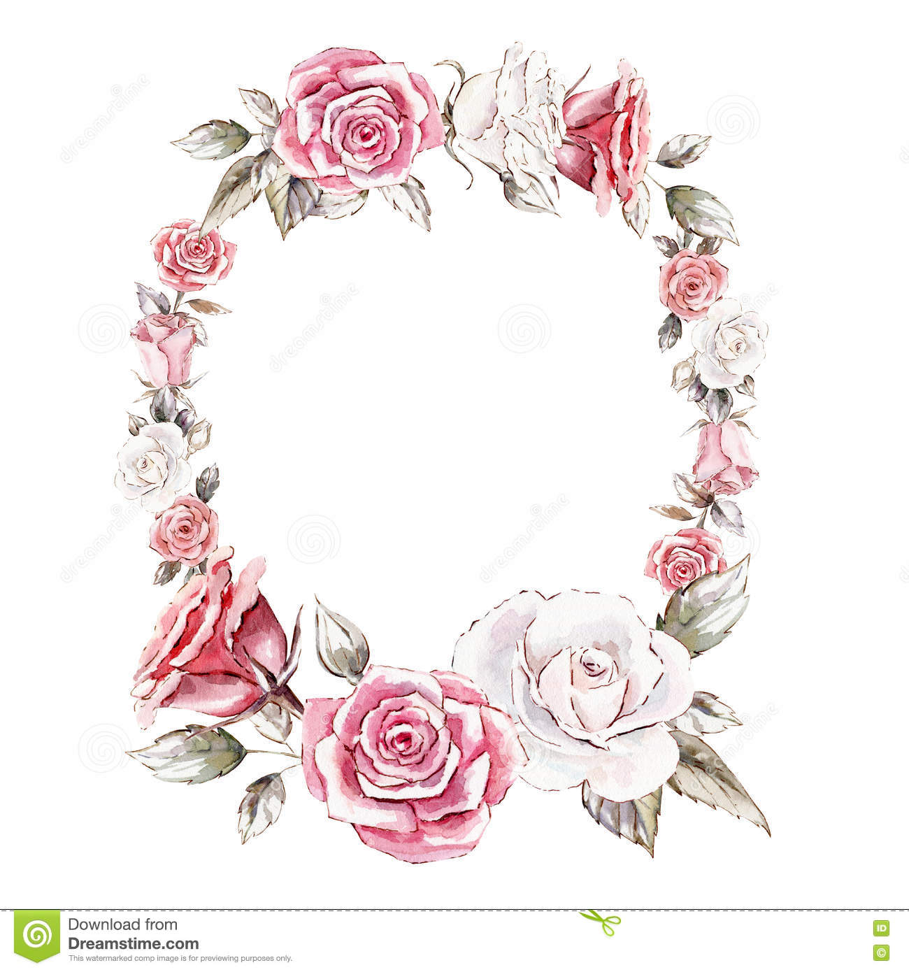 Hand Painted Watercolor Mockup Clipart Template Of Roses Stock.