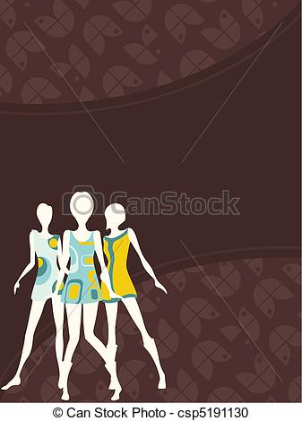 Vector Clipart of Vertical 1960's retro banner.
