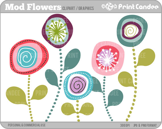 Mod Flowers Digital Clip Art Personal and Commercial Use.