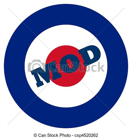 Clip Art of Mod target sign, isolated on a white background.