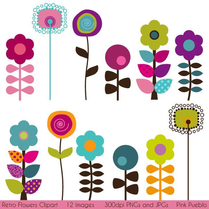 Retro Flower Clipart Clip Art, Vintage Flower Clip Art.