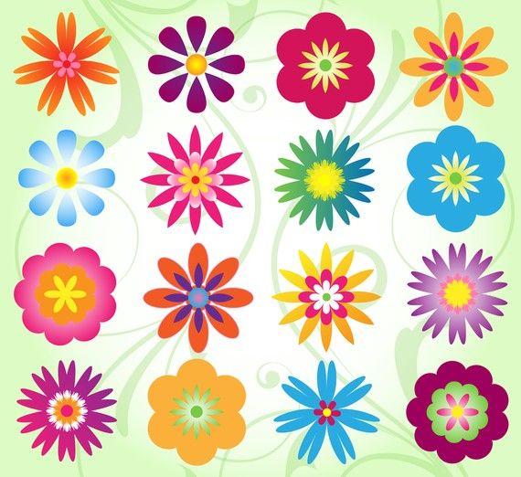 Flower Clip Art Clipart, Mod Flower Clip Art Clipart.