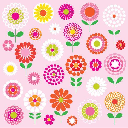 mod vector flowers clipart graphics.