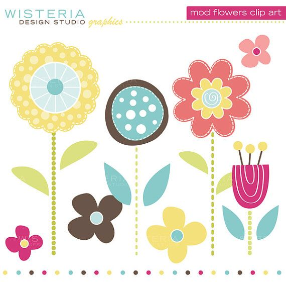 Mod Flowers Clip Art INSTANT DOWNLOAD by.
