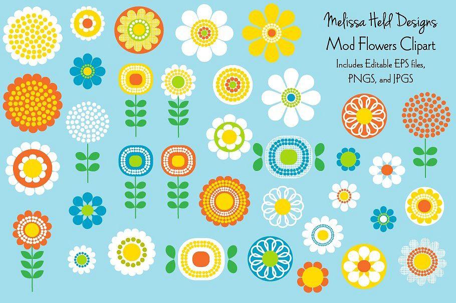 Mod Flowers Clipart.