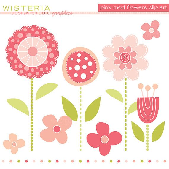 Pink Mod Flowers Clip Art for Personal.