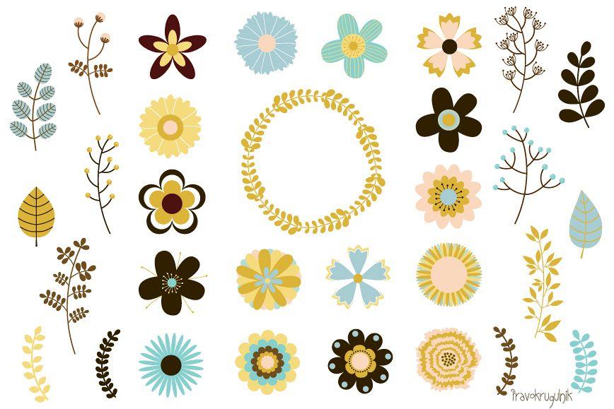 Wedding flowers clipart, Mod retro floral clip art vintage.